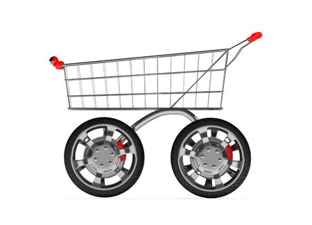 3d shopping cart with big car wheel isolated on white Stock Photo