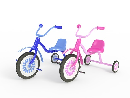 Blue and pink tricycle isolated 3d render