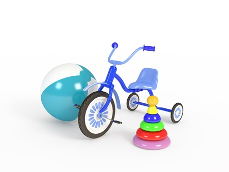 Ball, tricycle and pyramid isolated