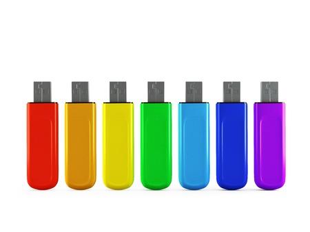 3d Row of color USB flash drives