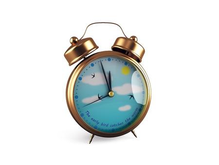 Retro Alarm clock isolated on white 3d render