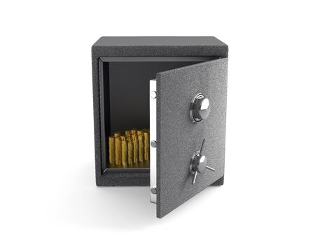 An open Safe with Gold coins isolated on white