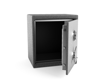 Opened safe isolated on white 3d render photo