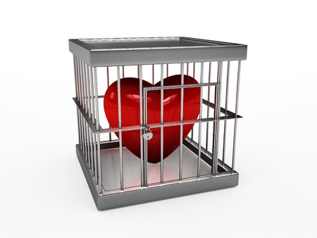 Rendering of red heart  in jail photo