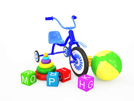playthings: Children toys with tricycle isolated on white