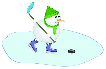 snowman with a hockey stick Stock Vector - 16489130