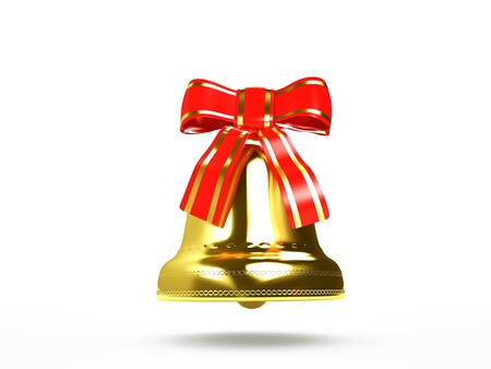 Golden bell with red bow  Stock Photo - 16489125