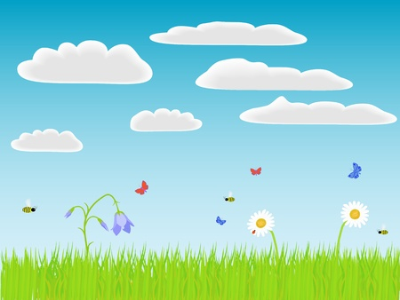 Flowers, grass and bugs. Vector illustration. Vector