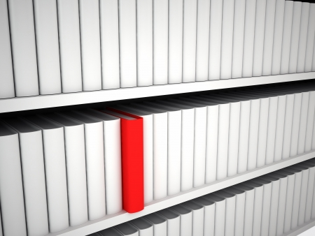 Bookcase with white books and one red Stock Photo - 16721618