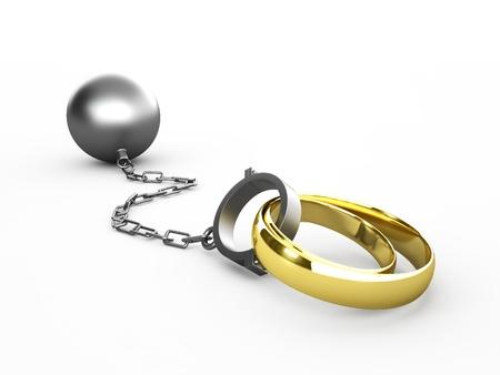 Les anneaux de mariage encha�n�s dans des menottes isol�s en blanc
