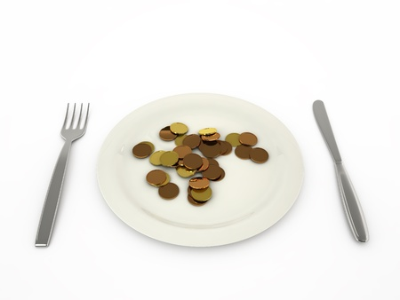 Coins in a plate isolated on a white background Stock Photo - 16721614