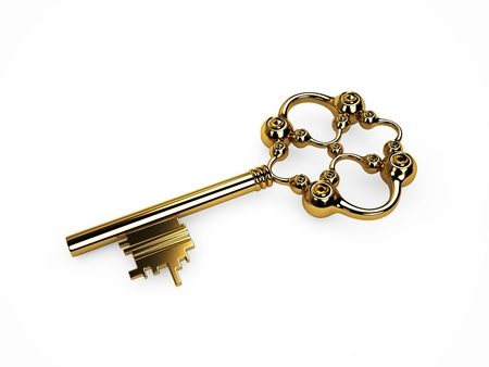 Vintage gold key  Isoleted on white photo