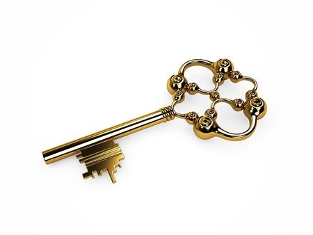 Vintage gold key  Isoleted on white photo