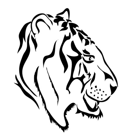 White tiger head - side view Vector