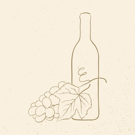 bottle of wine and grapes, vector illustration Illustration