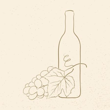 bouteille de vin et les raisins, illustration