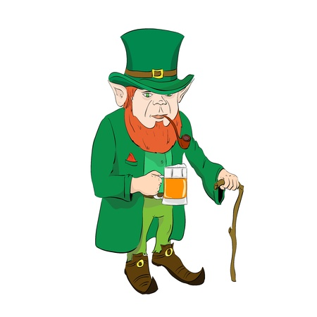 Leprechaun with a glass of beer and a cane Stock Vector - 17216017