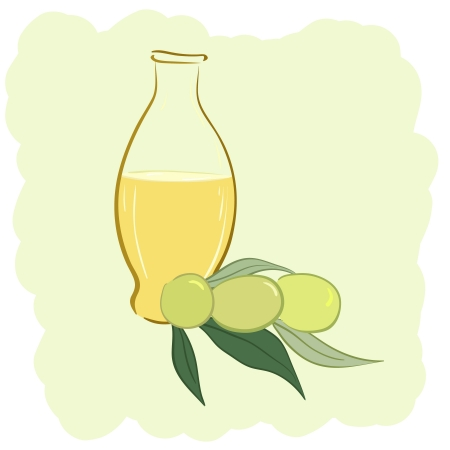 Small bottle of olive oil and two olives, vector illustration Vector