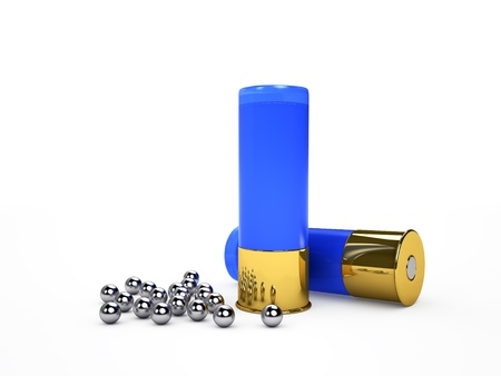 Blue ammo and shot, isolated on white render