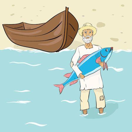 oldman: The old fisherman with fish ashore. Vector illustration Illustration