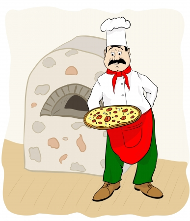 Cook with pizza. Vector illustration Vector