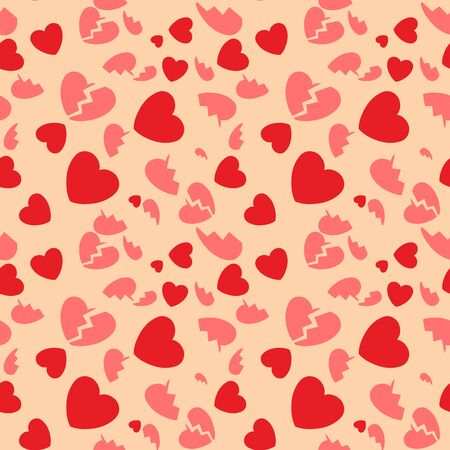 Seamless pattern with hearts and the broken hearts  illustration Stock Vector - 17694555