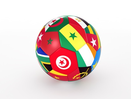3d rendering of a soccer ball with flags of the African countries Stock Photo