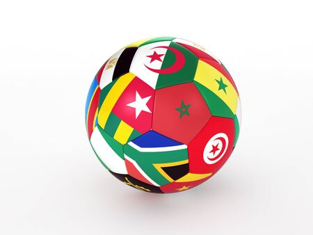 caf: 3d rendering of a soccer ball with flags of the African countries Stock Photo