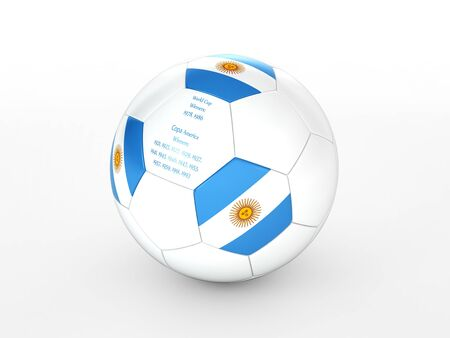 3d rendering of a soccer ball with with Argentina flag and dates of great victories Stock Photo - 17694590