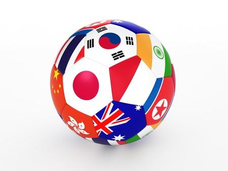 Rendu 3D d'un ballon de football avec des drapeaux des pays d'Asie