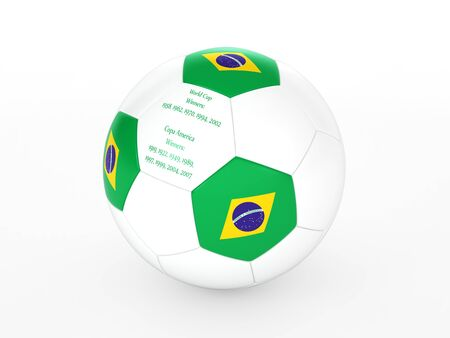 3d rendering of a soccer ball with with Brazil flag and dates of great victories Stock Photo - 17694581
