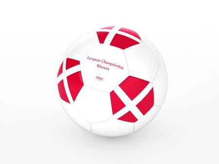 3d rendering of a soccer ball with with Denmark flag and victory date in the European Championship Stock Photo - 17694558