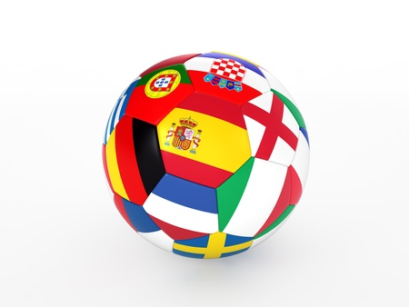 3d rendering of a soccer ball with flags of the European countries