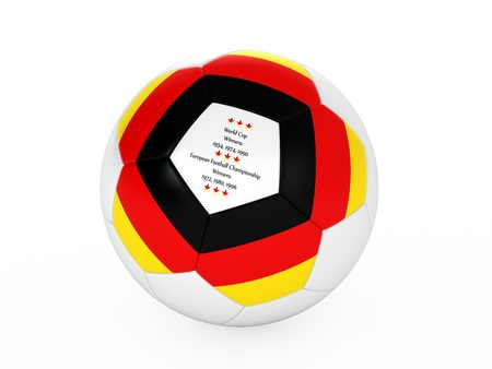 3d rendering of a soccer ball with with Germany flag and dates of great victories Stock Photo - 17694557
