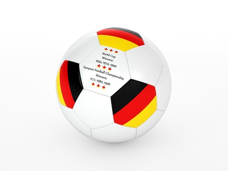3d rendering of a soccer ball with with Germany flag and dates of great victories Stock Photo - 17694580