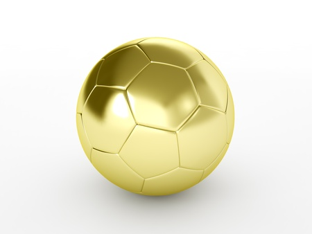 cup: golden soccer ball isolated on white background