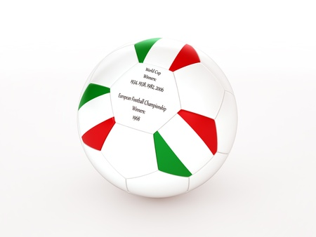 3d rendering of a soccer ball with with Italy flag and dates of great victories Stock Photo - 17694579