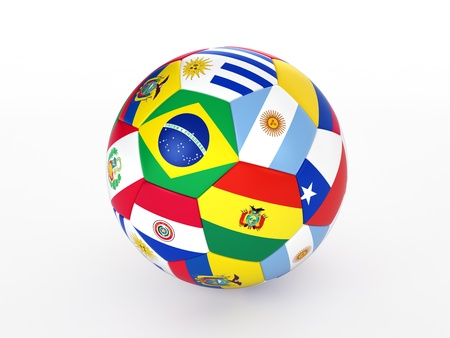 3d rendering of a soccer ball with flags of the countries of South America