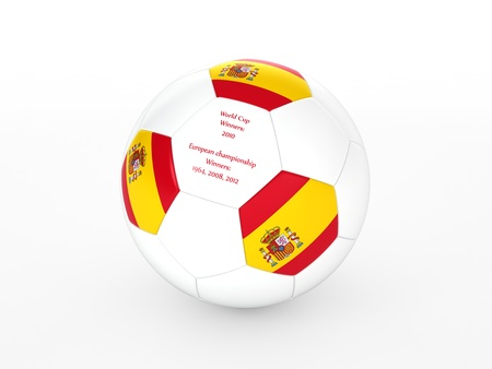 3d rendering of a soccer ball with with Spain flag and dates of great victories Stock Photo - 17694582
