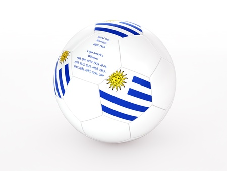 3d rendering of a soccer ball with with Uruguay flag and dates of great victories Stock Photo - 17694586