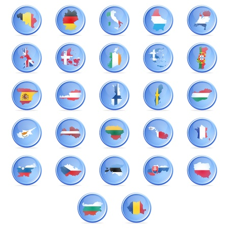 Vector buttons with flags of the states of the European union  EPS10 Stock Vector - 17954289