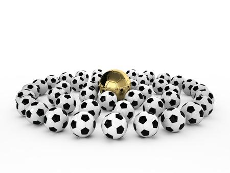 Un ballon de football d'or dans de nombreux ballons de football blanc, 3d render