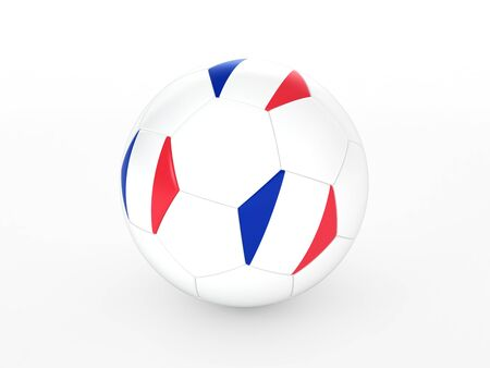 3d rendering of a soccer ball with France flag, isolated on white Stock Photo - 17954285