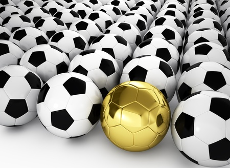 A gold football ball in many white football balls, 3d render