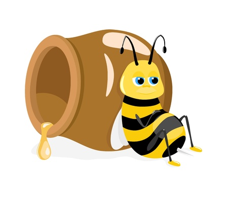 Vector illustration of cartoon bee sitting about honey pot on white Vector
