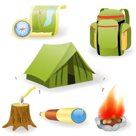 lägereld: Vektor illustration av camping samling på vit bakgrund