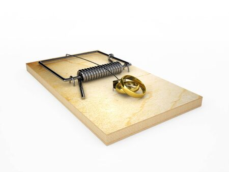 mousetrap with wedding rings, isolated on white Stock Photo - 18085516