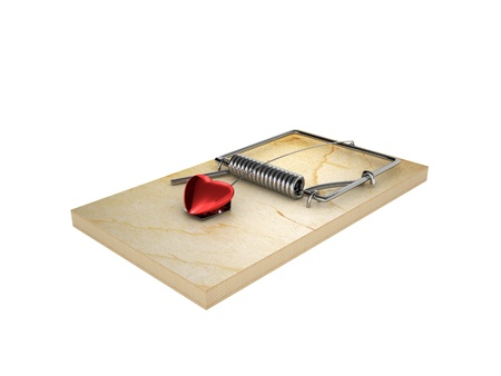 Mousetrap and heart, isolated on white background Stock Photo - 18141148