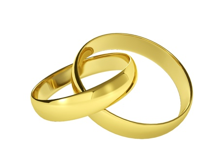 couple of gold wedding rings, isolated on white background