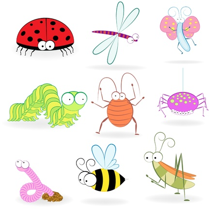 Set of funny cartoon insects  illustration Vector
